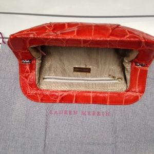 Lauren Merkin tatum croc orange clutch